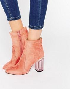 Розовые ботильоны с прозрачным каблуком Public Desire Cate - Розовый
