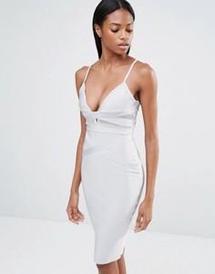 Платье миди с сетчатой вставкой и бретельками Missguided - Серый