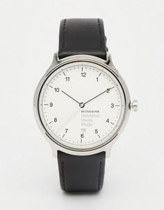 Часы с черным кожаным ремешком и корпусом 40 мм Mondaine Helvetica - Черный