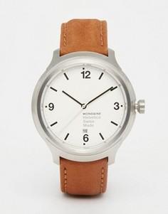 Часы с коричневым кожаным ремешком и корпусом 43 мм Mondaine Helvetica - Коричневый
