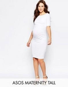 Платье бардо для беременных с укороченными рукавами ASOS Maternity TALL - Белый