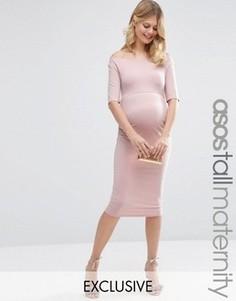 Платье бардо для беременных с укороченными рукавами ASOS Maternity TALL - Розовый
