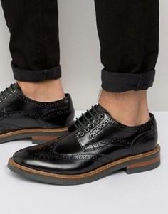Блестящие кожаные броги Base London Woburn - Черный