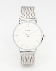 Часы с серебристым сетчатым браслетом Cluse Minuit CL30009 - Серебряный