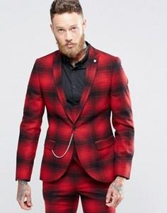 Облегающий пиджак в клетку омбре с цепочкой Noose & Monkey - Красный