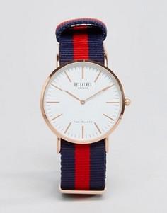 Сине-красные часы с парусиновым ремешком в полоску Reclaimed Vintage - Синий