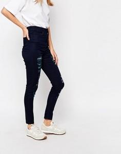 Голубые облегающие джинсы с завышенной талией Waven Anika - Синий