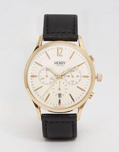 Часы с хронографом и кожаным решешком Henry London Westminster - Черный