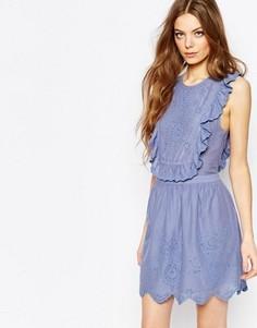 Платье с отделкой рюшами и вышивкой ришелье Vanessa Bruno Athe - Синий