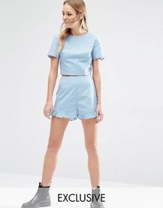 Комбинируемые шорты в горошек с завышенной талией Reclaimed Vintage - Синий