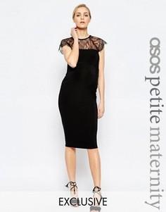 Облегающее платье миди с кружевной вставкой ASOS Maternity PETITE - Черный