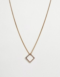 Ожерелье с квадратной подвеской Icon Brand - Золотой