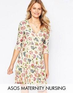 Короткое приталенное платье с цветочным принтом ASOS Maternity PETITE NURSING - Мульти