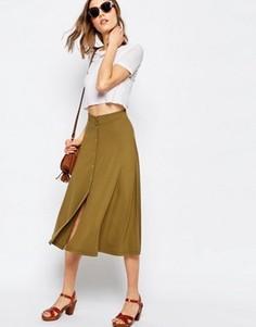 Расклешенная юбка миди с кнопками ASOS - Зеленый
