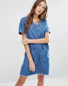 Платье-туника с необработанным краем и большими карманами Hilfiger Denim - Синий