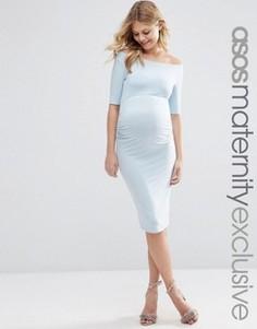 Платье с открытыми плечами для беременных ASOS Maternity - Синий