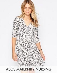Короткое приталенное платье для беременных с леопардовым принтом ASOS Maternity NURSING - Мульти