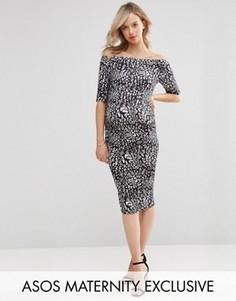 Платье для беременных с открытыми плечами и принтом ASOS Maternity - Мульти