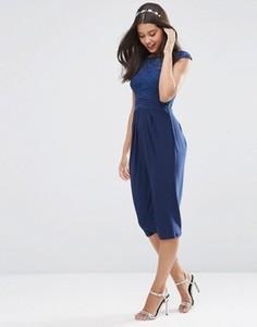 Платье миди с кружевным лифом ASOS WEDDING - Темно-синий