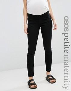 Зауженные черные джинсы для беременных с поясом под животом ASOS Maternity PETITE - Черный