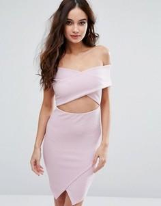 Облегающее платье в рубчик с открытыми плечами Missguided - Фиолетовый