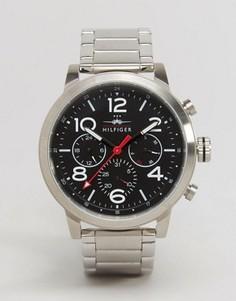 Серебристые наручные часы с хронографом Tommy Hilfiger Jake 1791234 - Серебряный
