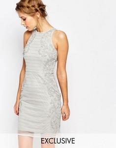 Платье-футляр с высоким воротом и отделкой Frock and Frill - Серый