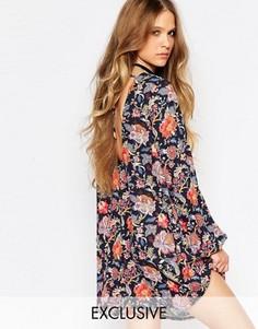 Платье-туника с цветочным принтом, длинными рукавами и завязками сзади Reclaimed Vintage - Черный