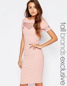 Облегающее платье в рубчик с кружевной вставкой Paper Dolls Tall - Розовый