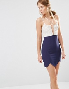 Платье мини 2 в 1 с круженым лифом Ginger Fizz - Темно-синий