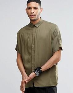 Oversize-рубашка цвета хаки с рукавами летучая мышь ASOS - Зеленый