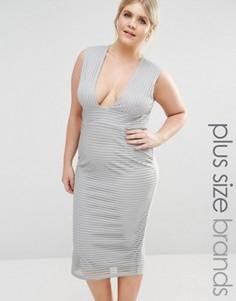Платье миди в рубчик с глубоким вырезом Missguided Plus - Серый