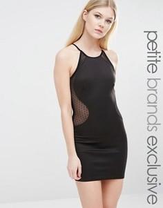 Платье-футляр с высокой горловиной и сеточкой в горошек TFNC Petite - Черный