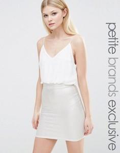 Платье 2-в-1 на бретельках с юбкой металлик TFNC Petite - Белый