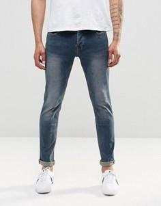 Узкие джинсы стретч с винтажной потертостью Only & Sons - Синий