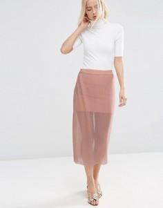 Прозрачная сетчатая юбка с плиссировкой ASOS - Бежевый