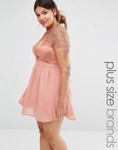 Короткое приталенное платье с кружевом Missguided Plus - Розовый