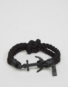 Черный тканый браслет с якорем Icon Brand - Черный