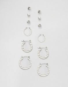 Набор серег-колец и серег-гвоздиков DesignB London - Серебряный