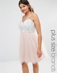 Платье для выпускного из кружева и тюля Boohoo Plus - Мульти