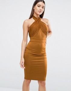 Платье-футляр с халтером и драпировкой NaaNaa - Коричневый