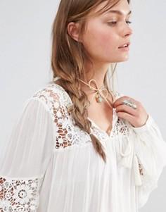 Светло-коричневое ожерелье-чокер с завязкой Love Rocks - Коричневый