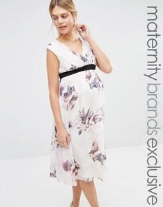 Платье с глубоким вырезом и принтом Little Mistress Maternity - Мульти