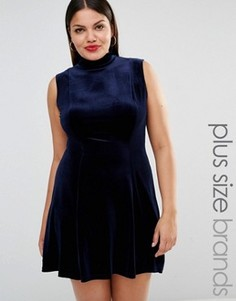 Короткое приталенное вельветовое платье с высоким воротом Club L Plus - Темно-синий