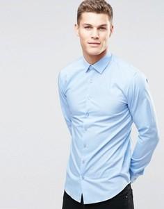 Стретчевая рубашка суперзауженного кроя Calvin Klein - Синий