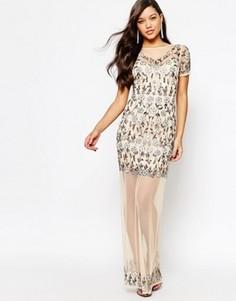 Сетчатое платье макси с цветочной отделкой Missguided Premium - Кремовый
