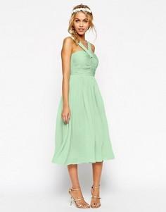 Платье миди с бретелью через шею ASOS WEDDING - Зеленый