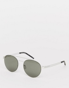 Круглые солнцезащитные очки-авиаторы Le Specs Spartan - Серебряный