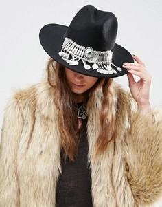 Фетровая шляпа с отделкой камнями и монетками ASOS - Черный