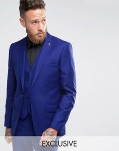 Синий пиджак узкого кроя с острыми лацканами Farah - Зеленый